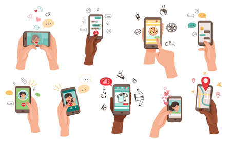 Hand Holding Phone Text Messaging, Watching Video, Purchasing Using Internet Vector Set