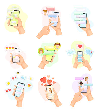 Hand with Smartphone Using Chat Software Text Messaging and Liking Photo Vector Set