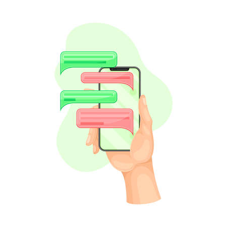 Smartphone in Hand Using Chat Software Vector Illustration