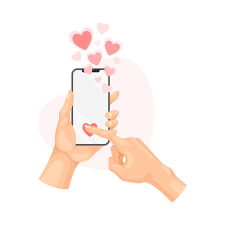 Hand Holding Smartphone Liking Post or Photo in Social Media Vector Illustration
