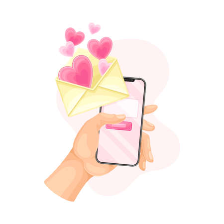 Hand with Smartphone Pressing Button for Sending Love Email Vector Illustration Vettoriali