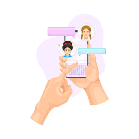 Human Hand with Smartphone Text Messaging in Chat Software Vector Illustration Vettoriali