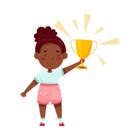 Little African American Girl Holding Gold Cup as Achievement Award Vector Illustration