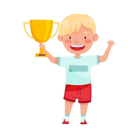 Excited Boy Winner Standing with Gold Cup as Achievement Award Vector Illustration