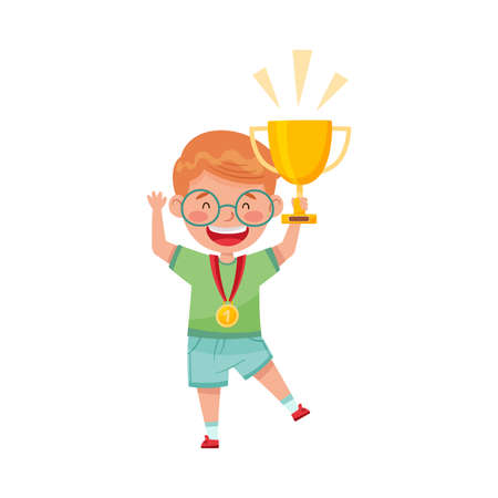Excited Boy Winner Standing with Gold Cup and Medal Hanging on His Neck Vector Illustration