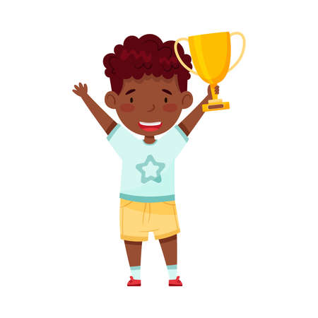 Little African American Boy Holding Gold Cup as Achievement Award Vector Illustration Vettoriali