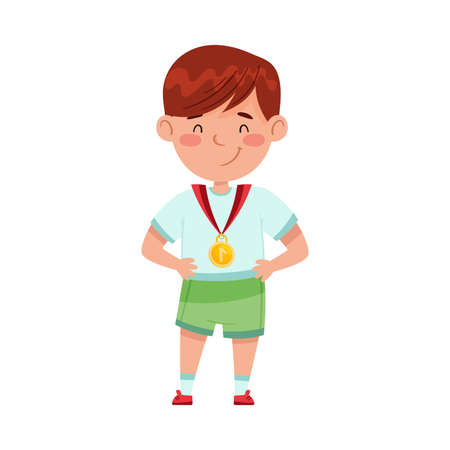Smiling Boy Champion Standing with Gold Medal Vector Illustration