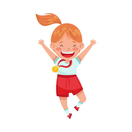 Cute Jumping Girl Winner with Gold Medal Hanging on Her Neck Vector Illustration