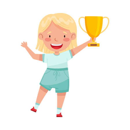 Excited Girl Winner Standing with Gold Cup as Achievement Award Vector Illustration Vettoriali