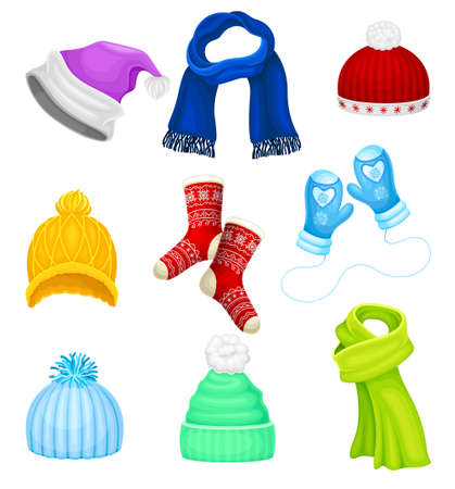 Warm Winter Clothes with Hat, Socks and Scarf Vector Set