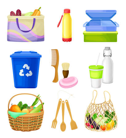 Zero Waste Everyday Items with Purchase Bag and Water Bottle as Reused Objects Vector Set