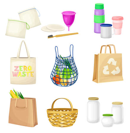 Zero Waste Everyday Items with Shopping Bag and Water Flask as Reused Objects Vector Set Vettoriali