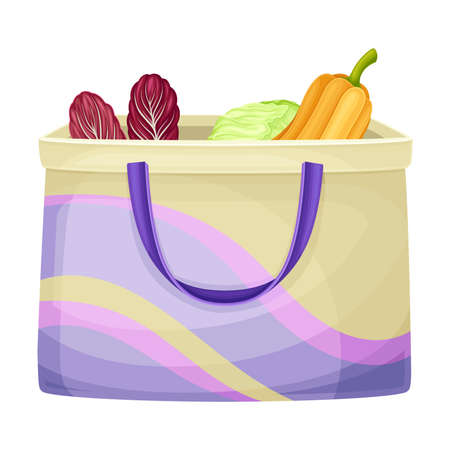 Shopping Bag with Food as Everyday Reused Object Vector Illustration