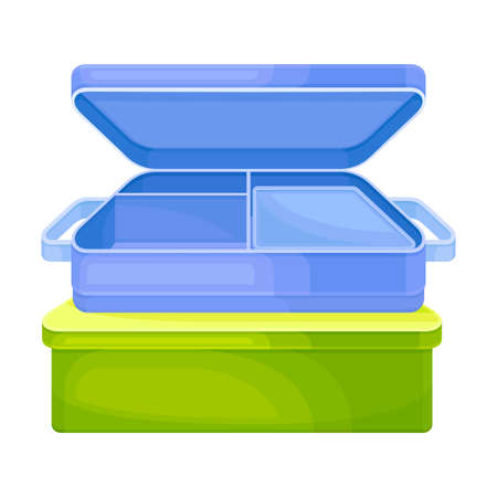Reusable Lunch Box or Container as Everyday Reused Object Vector Illustration Vettoriali