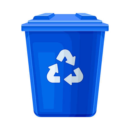 Blue Trash Bin for Garbage Recycle and Zero Waste Life Vector Illustration