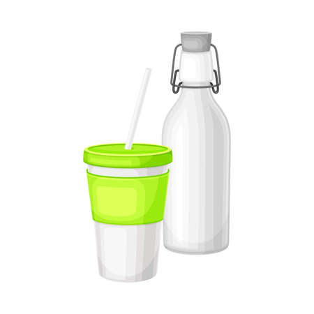 Water Flask and Cup as Everyday Reused Object Vector Illustration