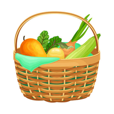Food Stored in Wicker Basket as Everyday Reused Object Vector Illustration Vettoriali