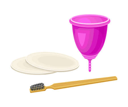 Menstrual Cup and Toothbrush as Everyday Reused Object Vector Illustration