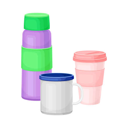 Metal Water Flask and Cup as Everyday Reused Object Vector Illustration Vettoriali