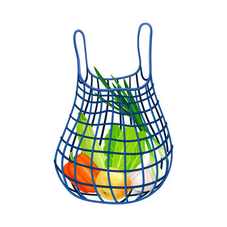 Mesh Shopping Bag as Everyday Reused Object Vector Illustration