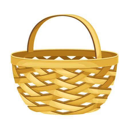 Empty Wicker Basket as Everyday Reused Object Vector Illustration