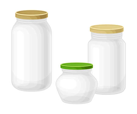 Glass Jars with Closed Lid as Everyday Reused Object Vector Illustration