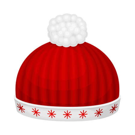 Red Knitted Winter Hat with Pompon as Seasonal Headwear Vector Illustration