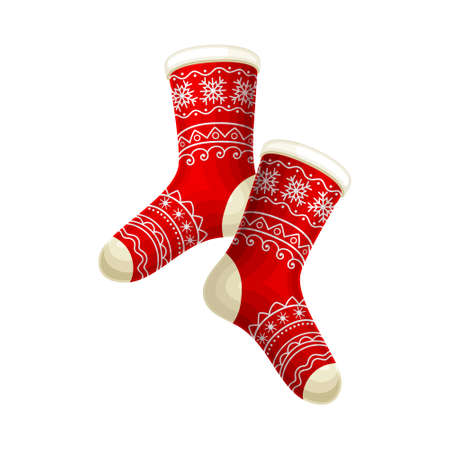 Knitted Winter Pair of Socks with Ornament as Seasonal Foot-wear Vector Illustration