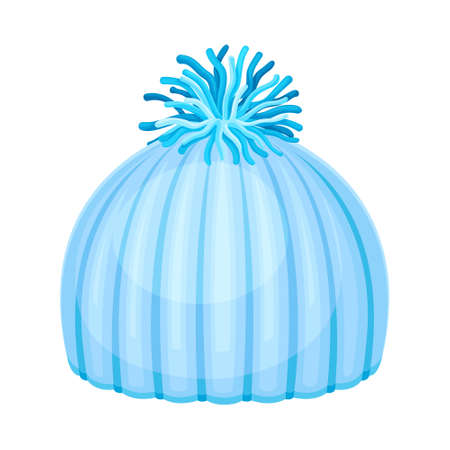 Blue Knitted Winter Hat with Pompon as Seasonal Headwear Vector Illustration Vettoriali