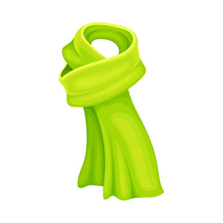 Green Winter Scarf as Seasonal Neckwear for Keeping Warm Vector Illustration Vettoriali
