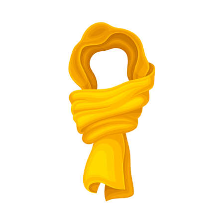 Yellow Winter Scarf as Seasonal Neckwear for Keeping Warm Vector Illustration Vettoriali