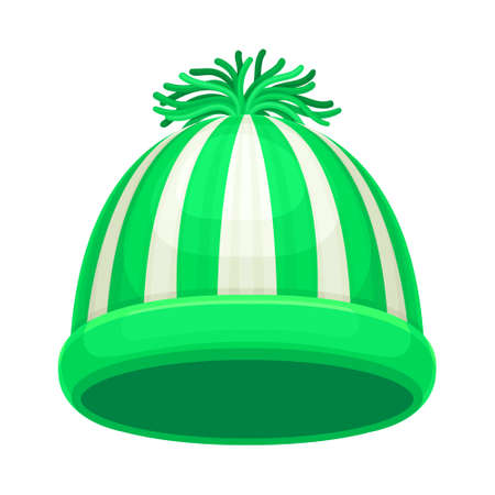 Warm Winter Striped Hat with Pompon as Seasonal Headwear Vector Illustration