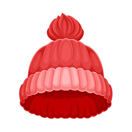 Knitted Winter Hat with Pompon as Seasonal Headwear Vector Illustration Vettoriali