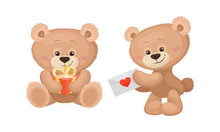Cute Cartoon Teddy Bear Holding Gift Box and Letter Envelope Vector Set