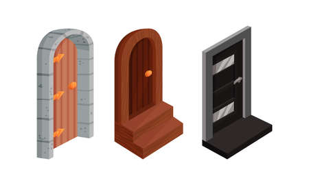 Isometric Doors with Threshold as Building and House Entrance Vector Set Ilustración de vector