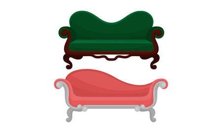 Couch or Sofa as Piece of Furniture for Seating Vector Set