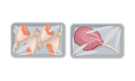 Chicken Legs and Beef Rib in Plastic Serving Tray Vector Set Illustration