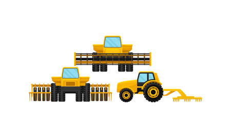 Agricultural Machinery with Tractors Used in Farming Vector Set