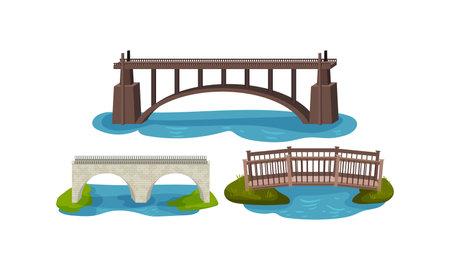 Stone and Metal Bridge as Road Over Water Vector Set