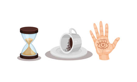 Fortune Telling Objects with Hand Palm and Coffee Grounds Vector Set Illustration