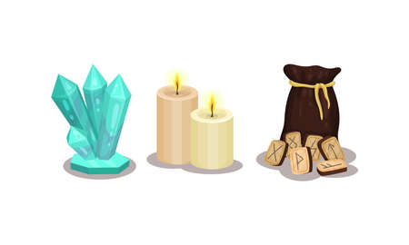 Fortune Telling Objects with Rune and Candles Vector Set