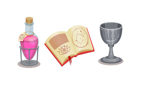 Fortune Telling Symbols with Potion in Jar and Spell Book Vector Set Illustration