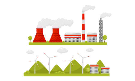 Alternative Energy Sources with Wind Generator and Waste Treatment Plant Vector Set