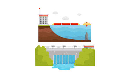 Alternative Energy Sources with Hydroelectric Power Station Vector Set