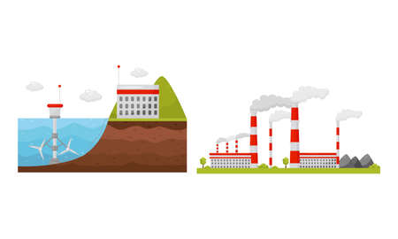 Alternative Energy Sources with Hydroelectric Power Station and Waste Treatment Plant Vector Set Ilustração