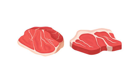 Beef Steak as Raw Meat Product for Cooking and Eating Vector Set