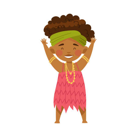 African Little Girl in Traditional Tribal Clothing Standing Vector Illustration Ilustración de vector