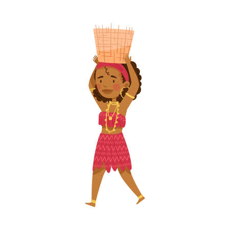 African Woman Character in Traditional Tribal Clothing Carrying Wicker Basket on Her Head Vector Illustration