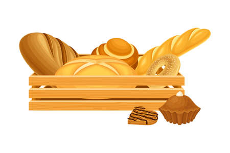 Wooden Crate Full with Bread and Sweet Pastry Vector Composition 일러스트
