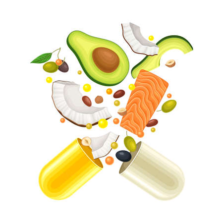 Capsule Halves with Floating Nuts and Avocado as Vitamins and Supplement Vector Illustration